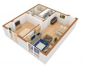 Dagny floor plan. living room next to bedroom and kitchen.