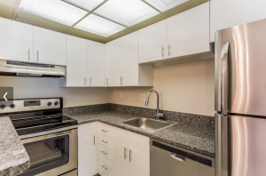 Kira kitchen with granite countertops, tons of cabinets, and new appliances.