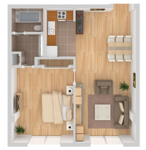Kira floor plan. Bathroom on the top left, kitchen to the right, then the dining and living room, and the bedroom on the bottom left.