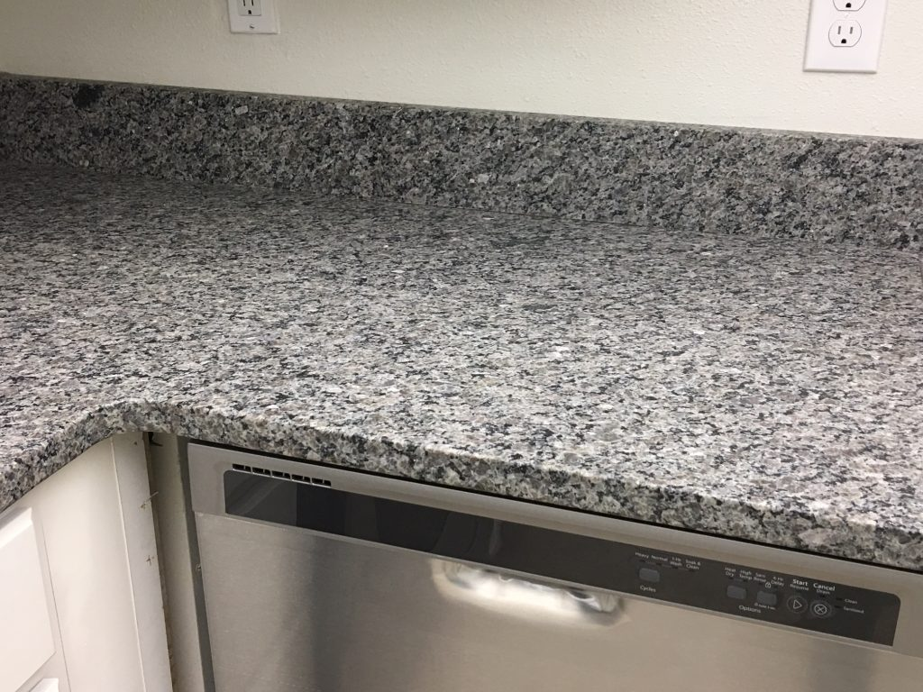 Close up of the Kira's granite countertops and new dishwasher.