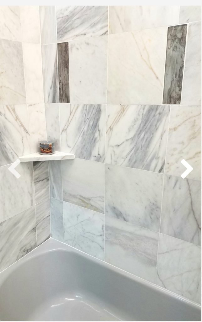The Pat bathroom showing off the marble tiles