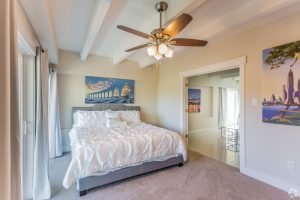 The Pat bedroom comfortably holding a king size bed and a lovely ceiling fan