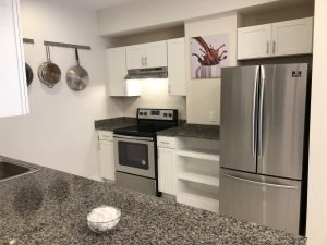 The Ramona's remodeled kitchen with dark granite counter tops