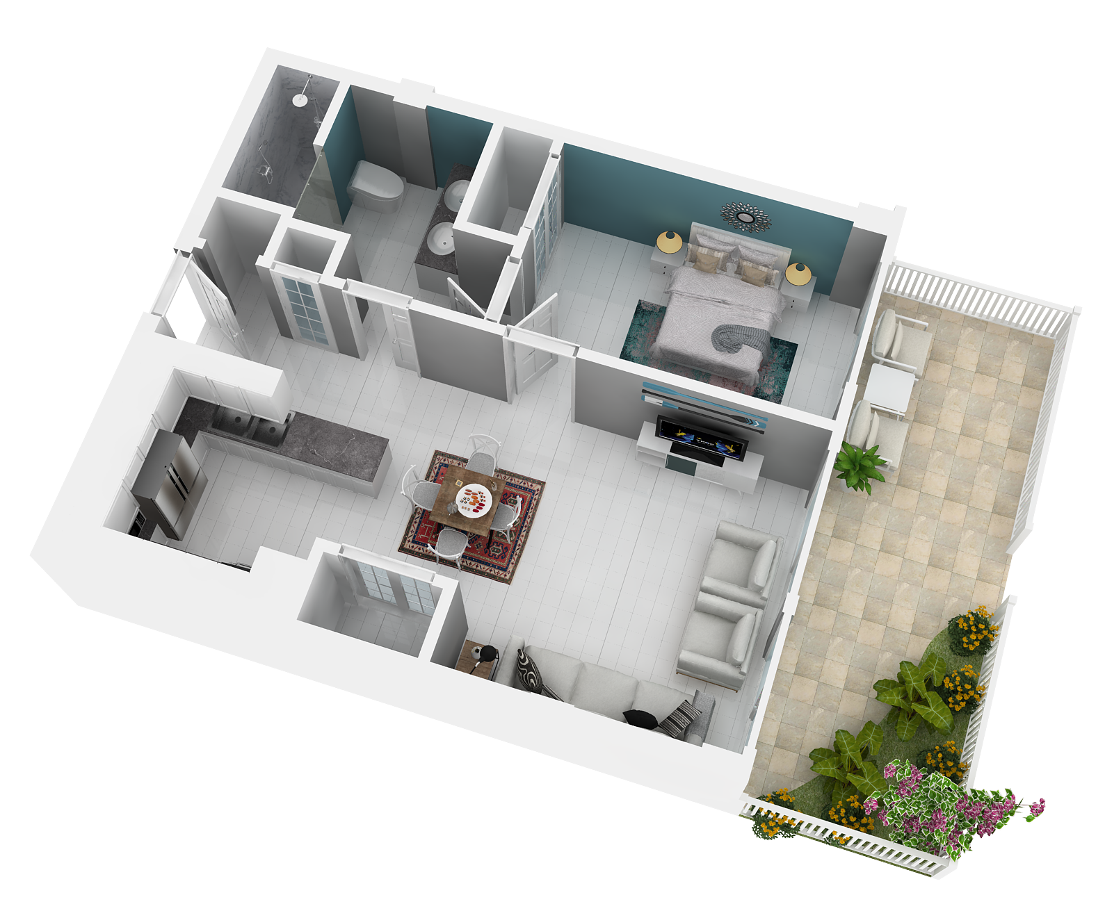 Ramona floor plan. Large main room, bedroom, kitchen, and balcony.